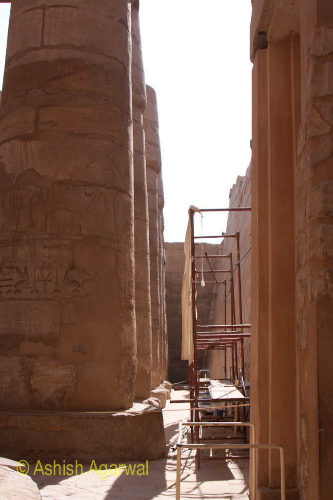 Scaffolding near a pillar at one section of the Hypostyle Hall in the Karnak temple