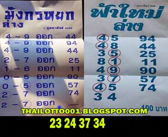 Thai lotto tip 001 thai lottery best paper down touch 01 02 2015