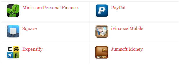 Mint.com Personal Finance, Square, Paypal, iFinance Mobile, Expensify, Jumsoft Money