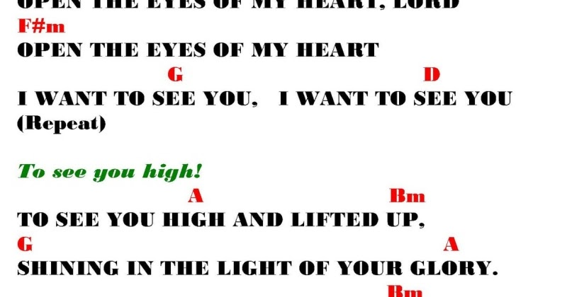 OPEN THE EYES OF MY HEART (Michael Smith) - lyrics and chords ~ Sing ...