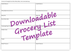 Downloadable Grocery List Template