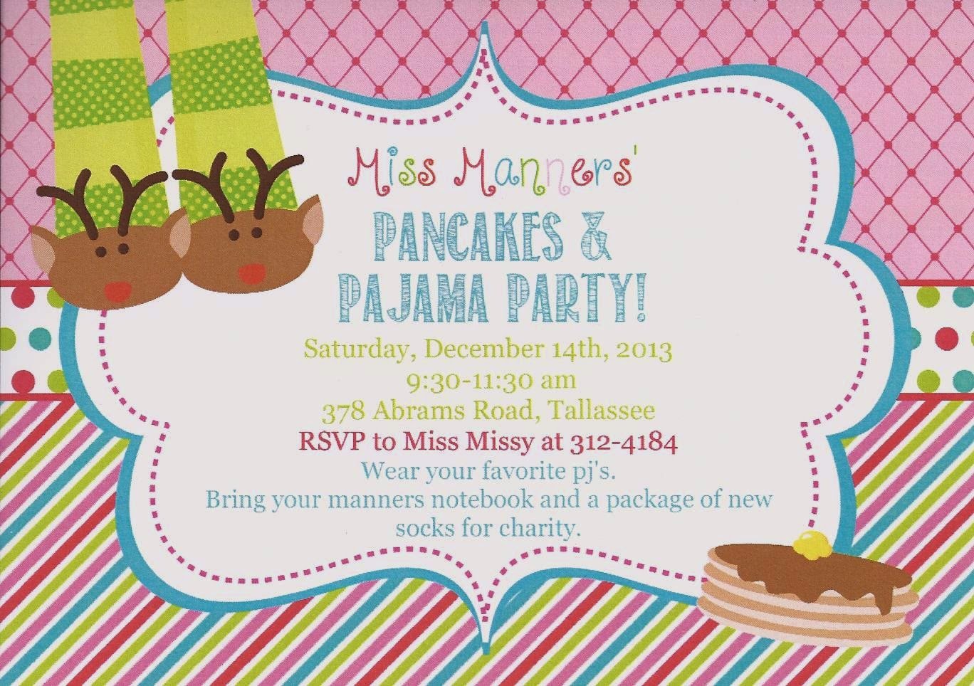 Our Neck Of The Woods Pancakes and Pajamas Yes please – Pancake Party Invitations