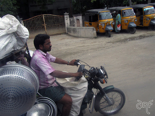 Indian man on motorcycle
