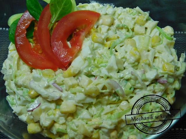 Sałatka z pora porowa szybka sałatkę z pora Salad season Σαλάτα εποχής Salade de saison Salade seizoen Салат сезон przepis recipe bbq wiosenna