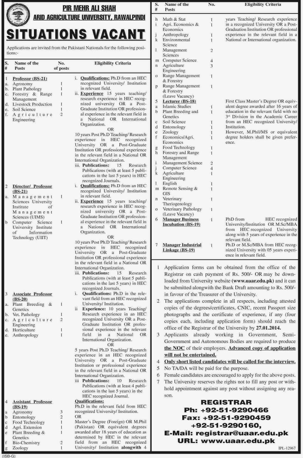 Vacancies in Arid Agriculture University Rawalpindi