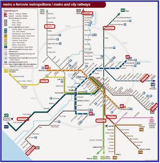 Схема метро и электричек Рима