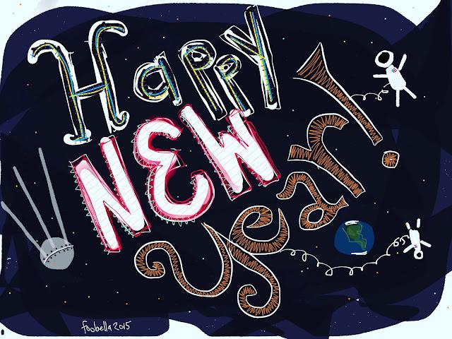 Happy New Year 2016 doodle via foobella.blogspot.com
