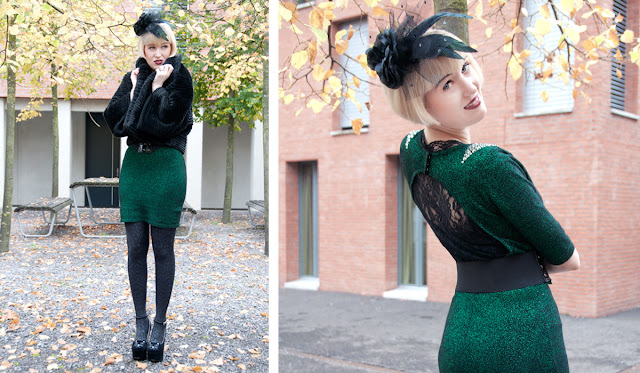 pearls and swine, outfit, green bodycon dress