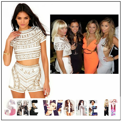 All Over Pattern, Bead, Billie Faiers, Cream, Crop Top, Embellishment, Gold, High Waisted Shorts, Matching, Missguided, Sequin, The Only Way Is Essex, The Only Way is Vegas, TOWIE, Tribal Pattern,