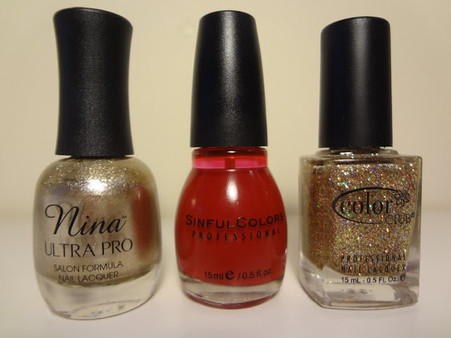 Gold polish, red polish, gold glitter polish