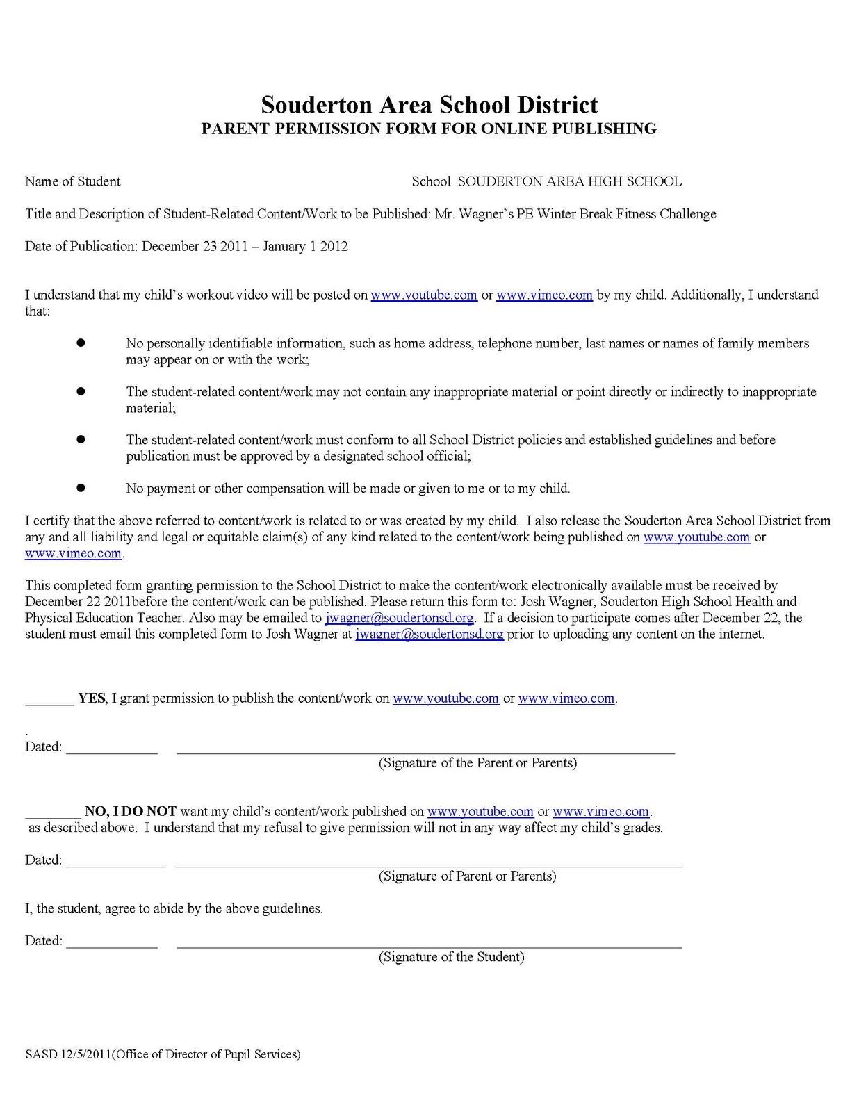 permission forms template – Parent Release Form