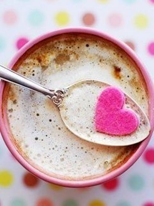 cappuccino with love, pink heart-shaped sugar