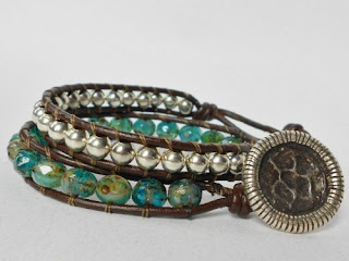 Beaded Leather Wrap Bracelet of Aqua Terra Czech beads and Moonscape button  by goingtribal