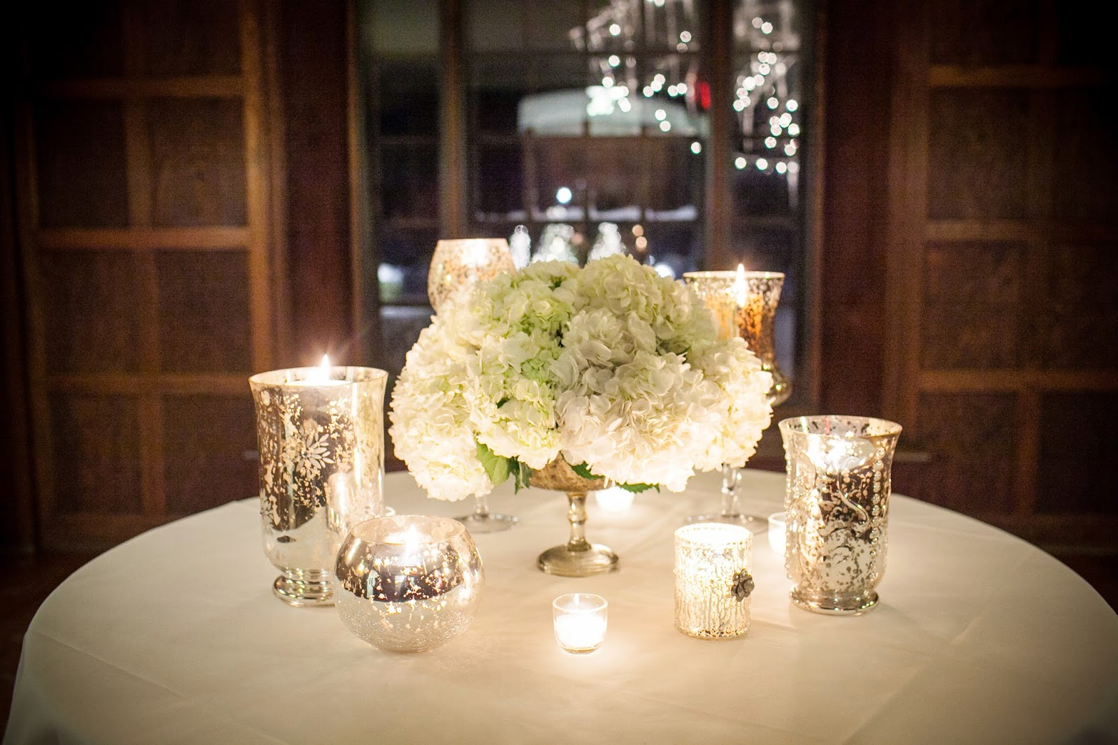 willowdale estate : les fleurs : white hydrangea : mercury glass vases