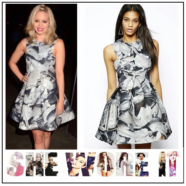 All Over Print, AQ/AQ, ASOS, Broad Walk, Crew Neck, Kimberly Wyatt, Mini Dress, Pleat Detail, Printed, Structured,