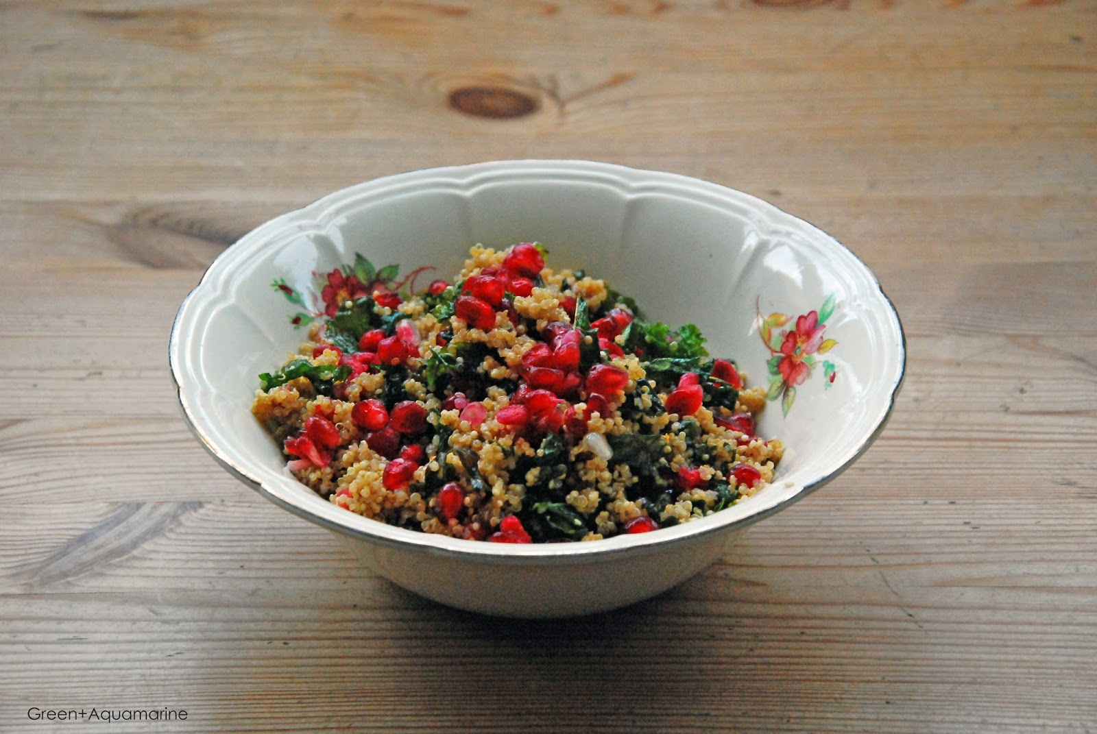 Superfood, quinoa, kale, pomegranate, salad