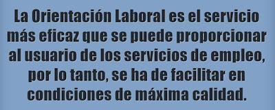 La Orientación Laboral es el servicio de mayor eficacia ofertable desde los servicios de empleo, ha de prporcionarse en condiciones de máxima calidad.