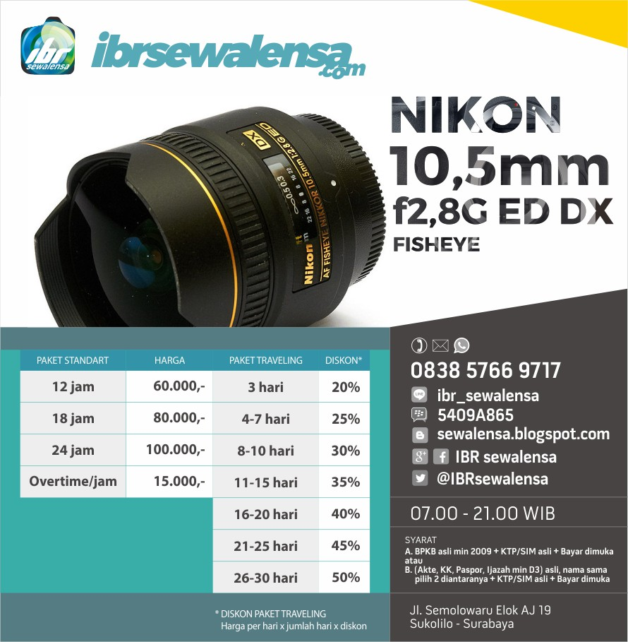 Nikon AF 10,5mm f2,8 G ED DX Fisheye Harga Sewa Rental Lensa Kamera