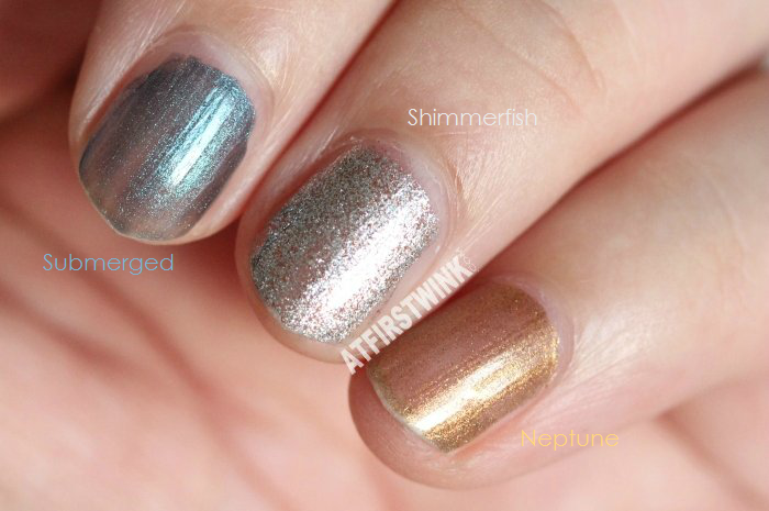 MAC Alluring Aquatic nail lacquers (Summer 2014): Submerged, Shimmerfish, and Neptune