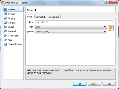 virtualbox - settings virtual machine