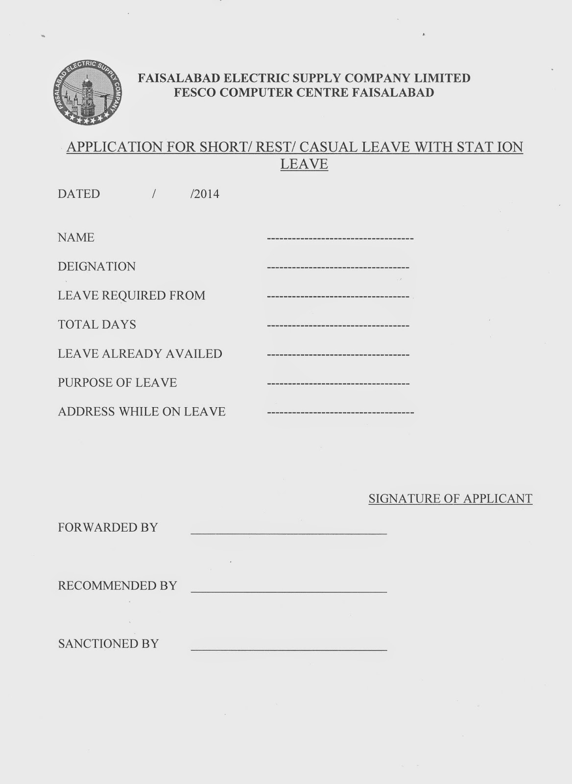 Casual Leave Form  Leave Application Form For Office