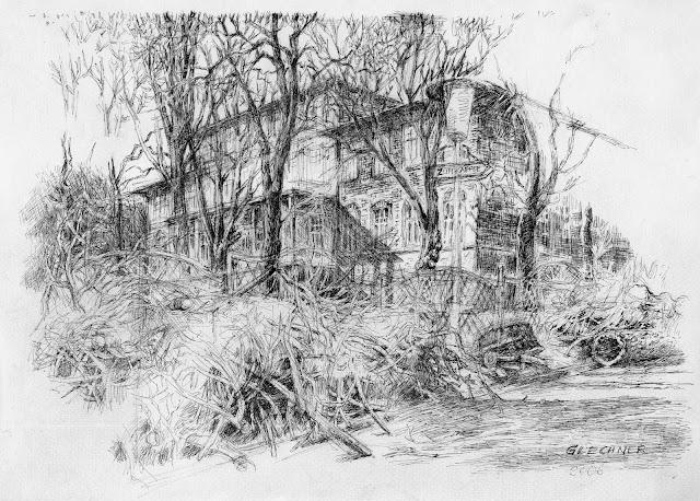 Holz fällen, Landschaftsmalerei, Zeichnung, Reisig, Steinhof, Wien, Frühling, Glechner