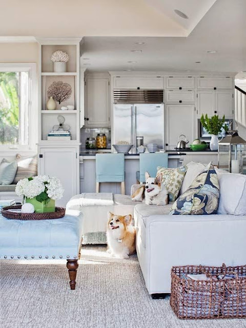 open floor plan layout neutral white kitchen and family room