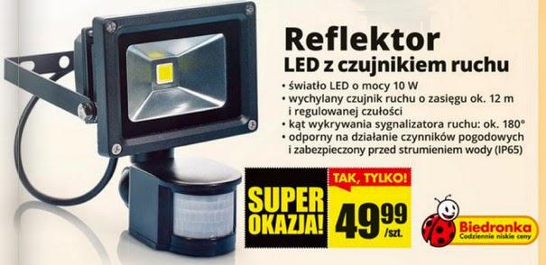 Reflektor LED z czujnikiem ruchu z Biedronki ulotka 2014