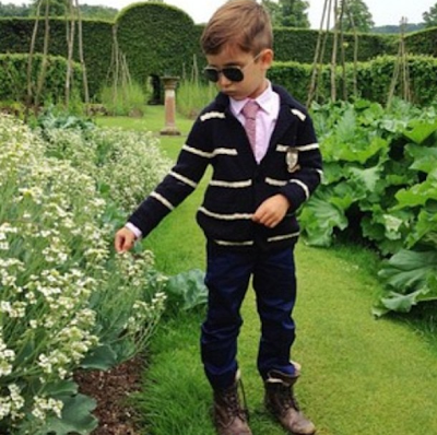Alonso Mateo sporting a preppy outfit