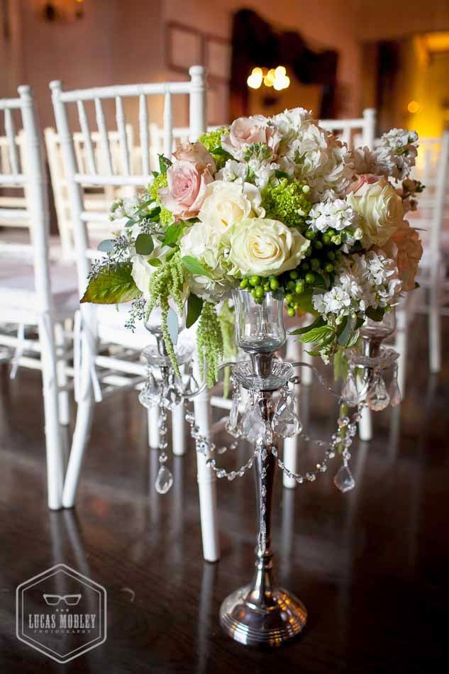 DeLille wedding ceremony, ceremony decor, white wedding flowers, crystal, Flora Nova Design