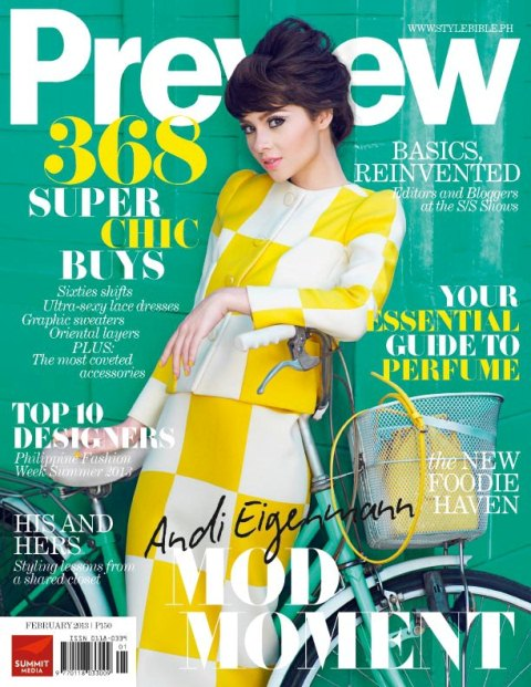 Andi Eigenmann Covers Preview Magazine February 2013 Issue