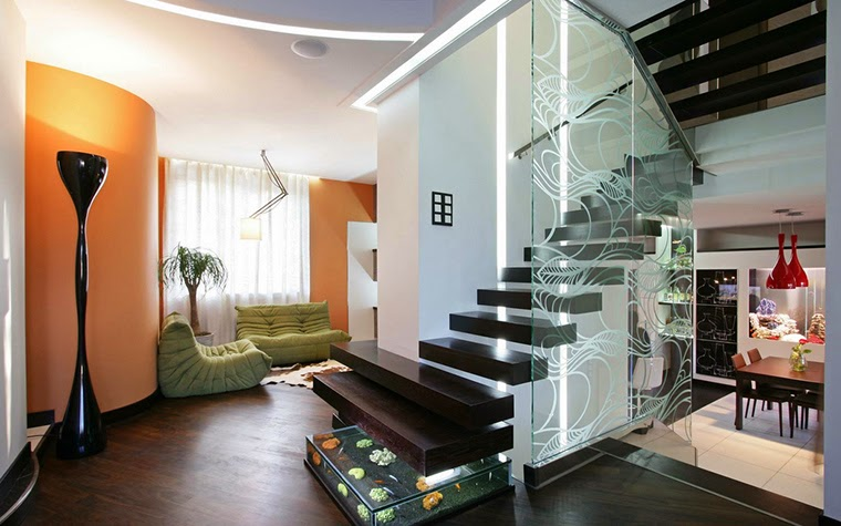 new wooden stairs design with glass handrails