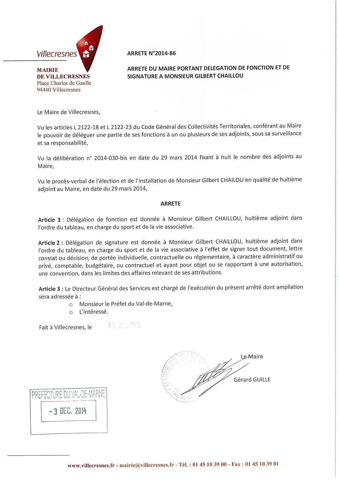 2014-086 Délégation de fonction et de signature à Monsieur Gilbert Chaillou