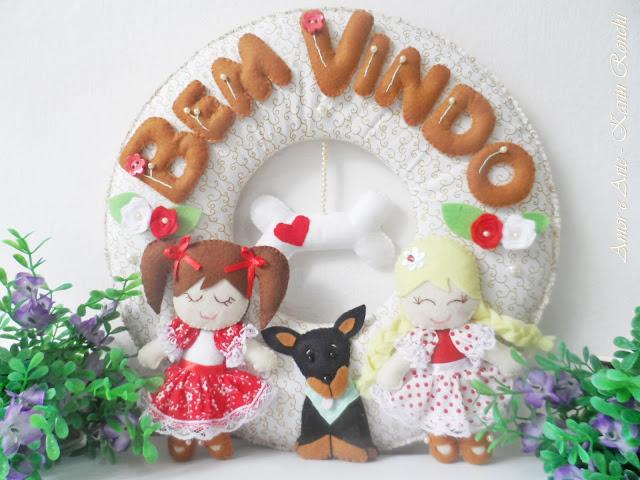 Guirlanda Bem Vindo, bonequinhas e dog
