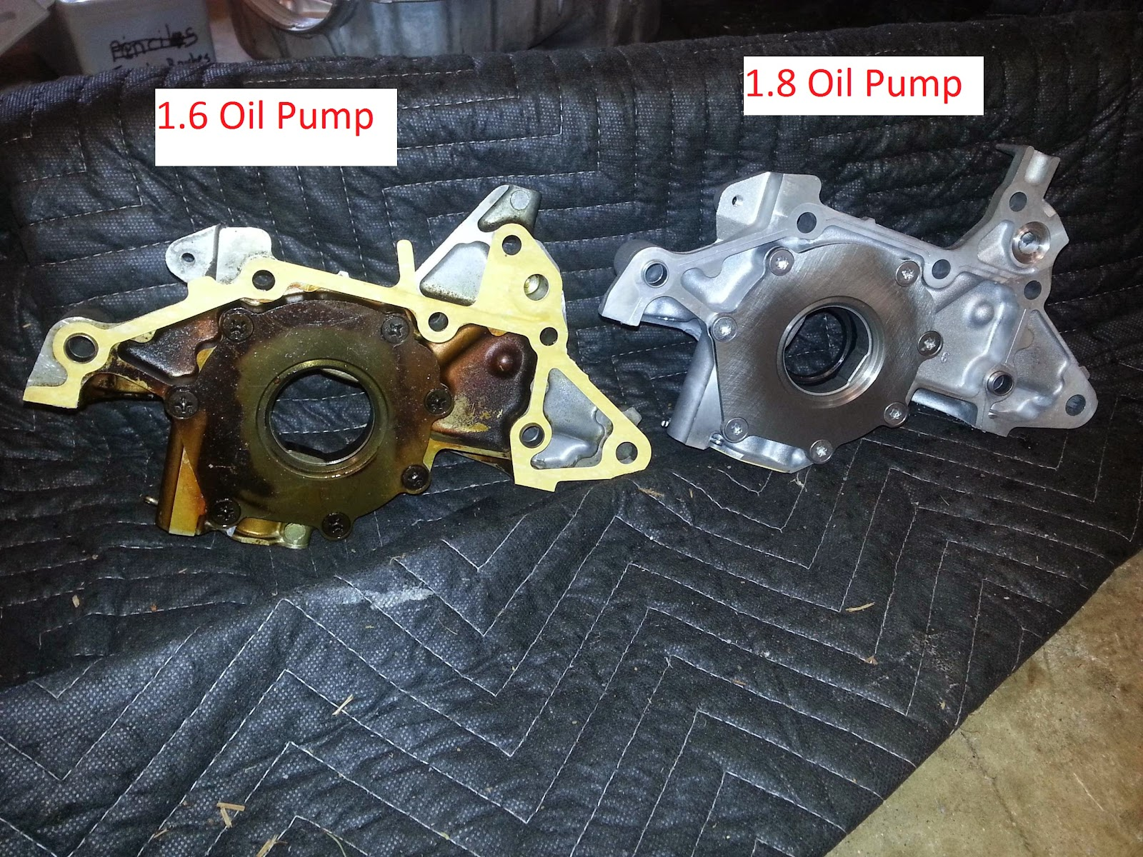 A newbies adventures in racing everything you never wanted to know the outlet of the oil pump where it meets the oil channel in the engine block takes an o ring here is a comparison of the 16 vs 18 publicscrutiny Gallery