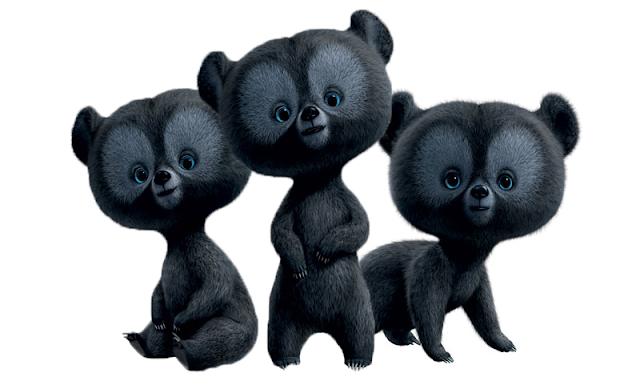 Desenho Valente Gêmeos ursos colorido com fundo transparente