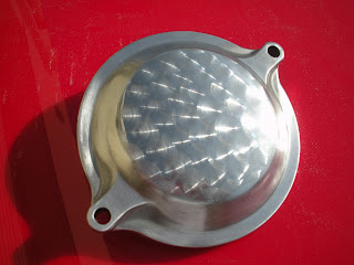 polished engine turned 1983 xv750 cam access port