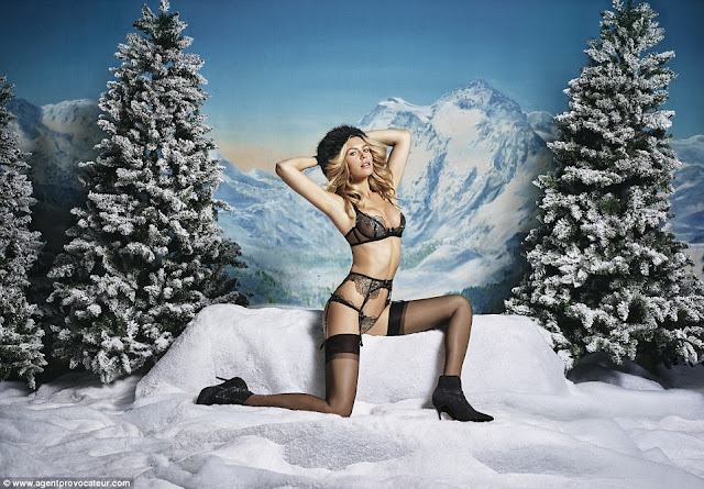 Abbey Clancy wears saucy lingerie for Agent Provocateur shoot
