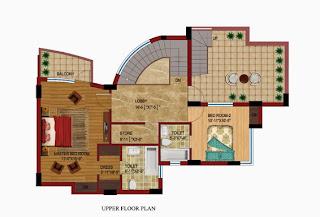Czar Suites :: Floor Plans:-Darius 8 - Upper Floor Plan (Without Servant) Area - 2915 sq. ft.Terrace Area - 480 sq. ft.