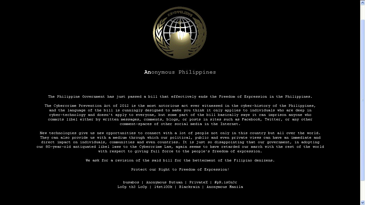 Anonymous Philippines Hacked Government Websites.