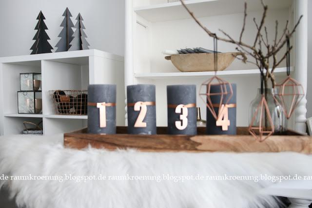 raumkr nung adventskranz alternative graue kerzen mit. Black Bedroom Furniture Sets. Home Design Ideas
