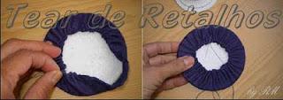 Montagem da estrutura do Tear de nhanduti. Encaixando o isopor dentro do tecido alinhavado