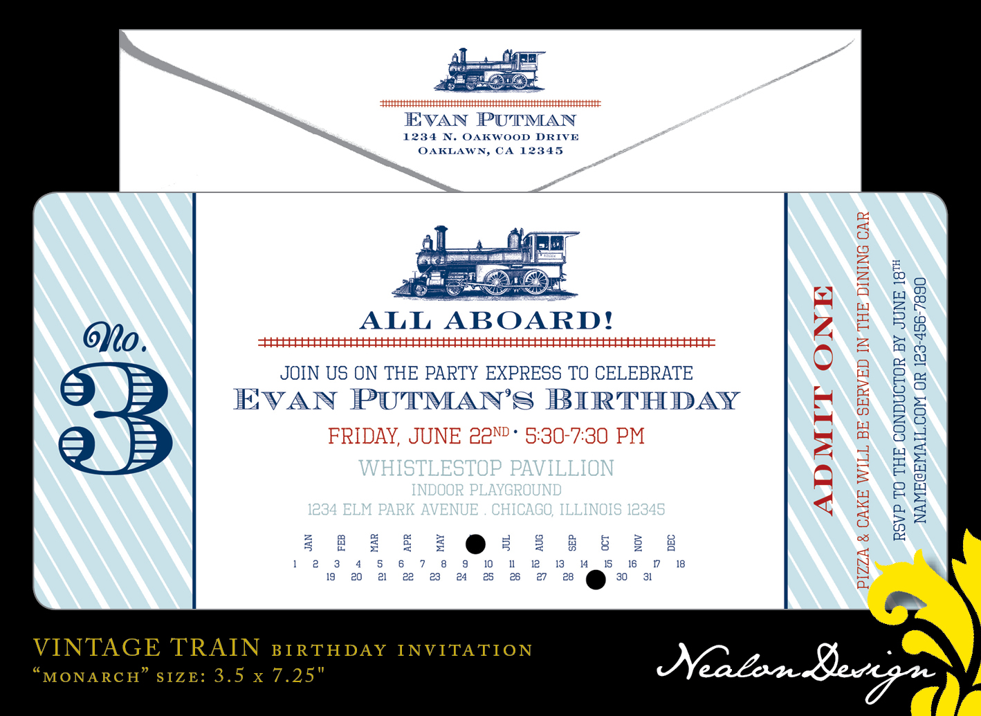 Vintage TRAIN TICKET Birthday Invitation