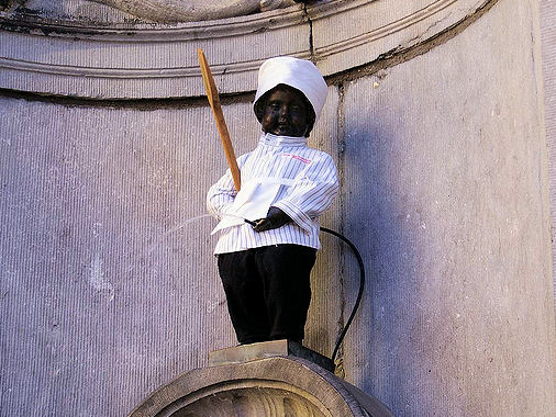 Manneken Pis is dressed as a chocolatier today. Photo: Paul Wittal.
