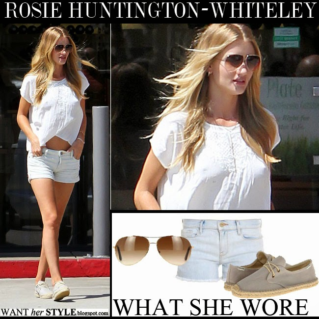 e4a594336bb WHAT SHE WORE  Rosie Huntington-Whiteley in white top with light ...