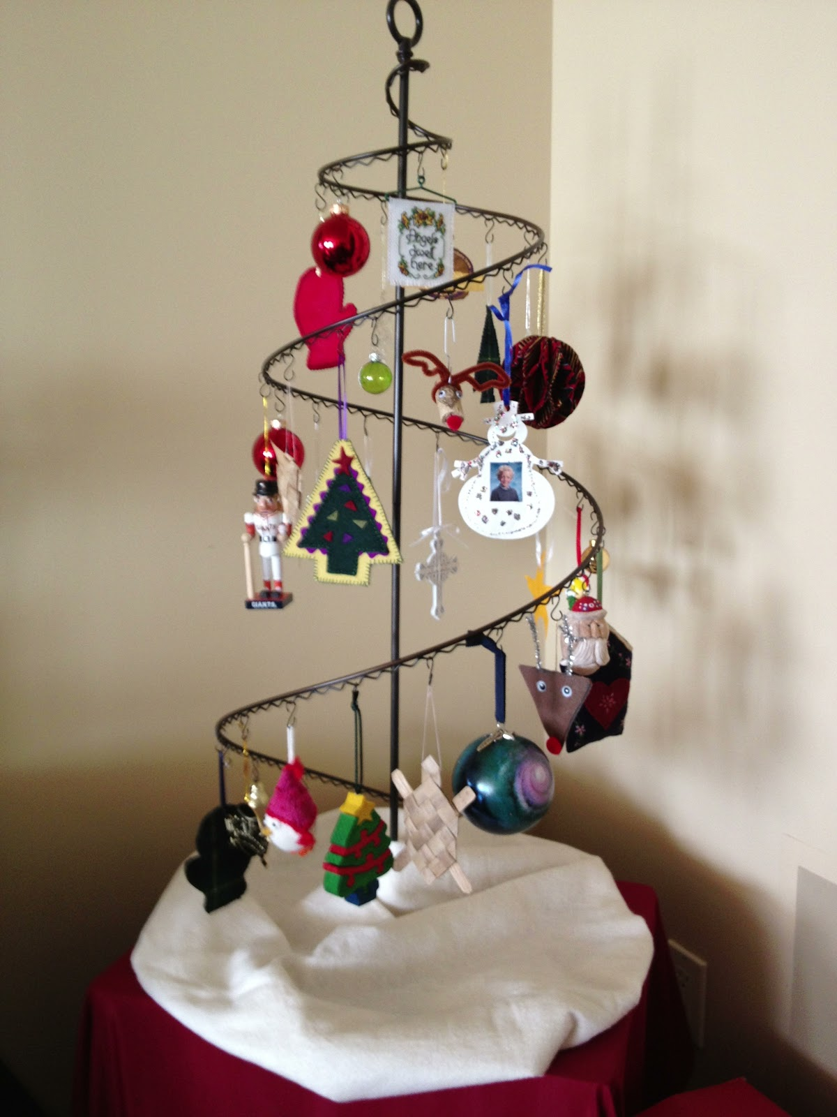 Christmas tree ornament display -  Misterstitches And I Didn T Have A Christmas Tree But I Wanted To Display Some Of My Tree Ornaments So I Found This Nifty Ornament Holder At Crate And
