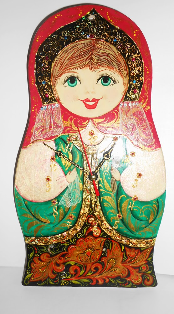 Wall clock Matryoshka handmade with painting in russian folk styles khokhloma