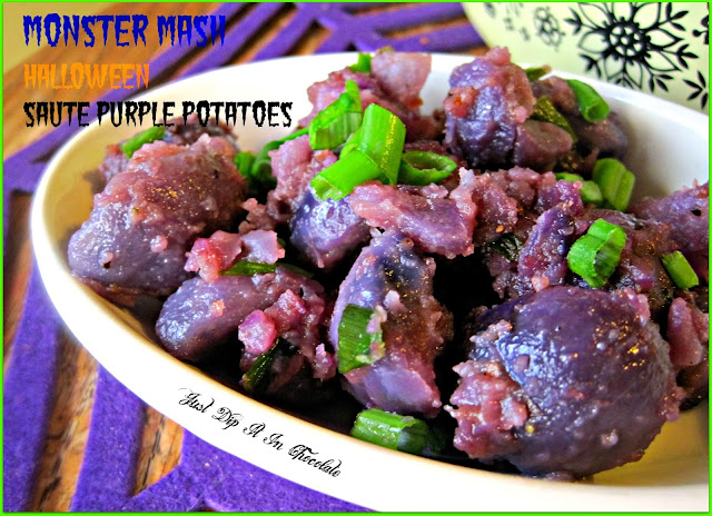 Monster Mash Halloween Saute Purple Potatoes Recipe, you all have heard, sang and danced to the Monster Mash! Now is time to eat it too! All natural, no dyes here made with delicious purple potatoes. Make #halloween fun for your kids and adults with these different and tasty dish! #Halloweenfood #halloween #halloweenpartyfood