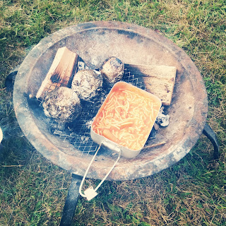 A Camp Fire Meal of Spaghetti, Sausages and Jacket Potatoes