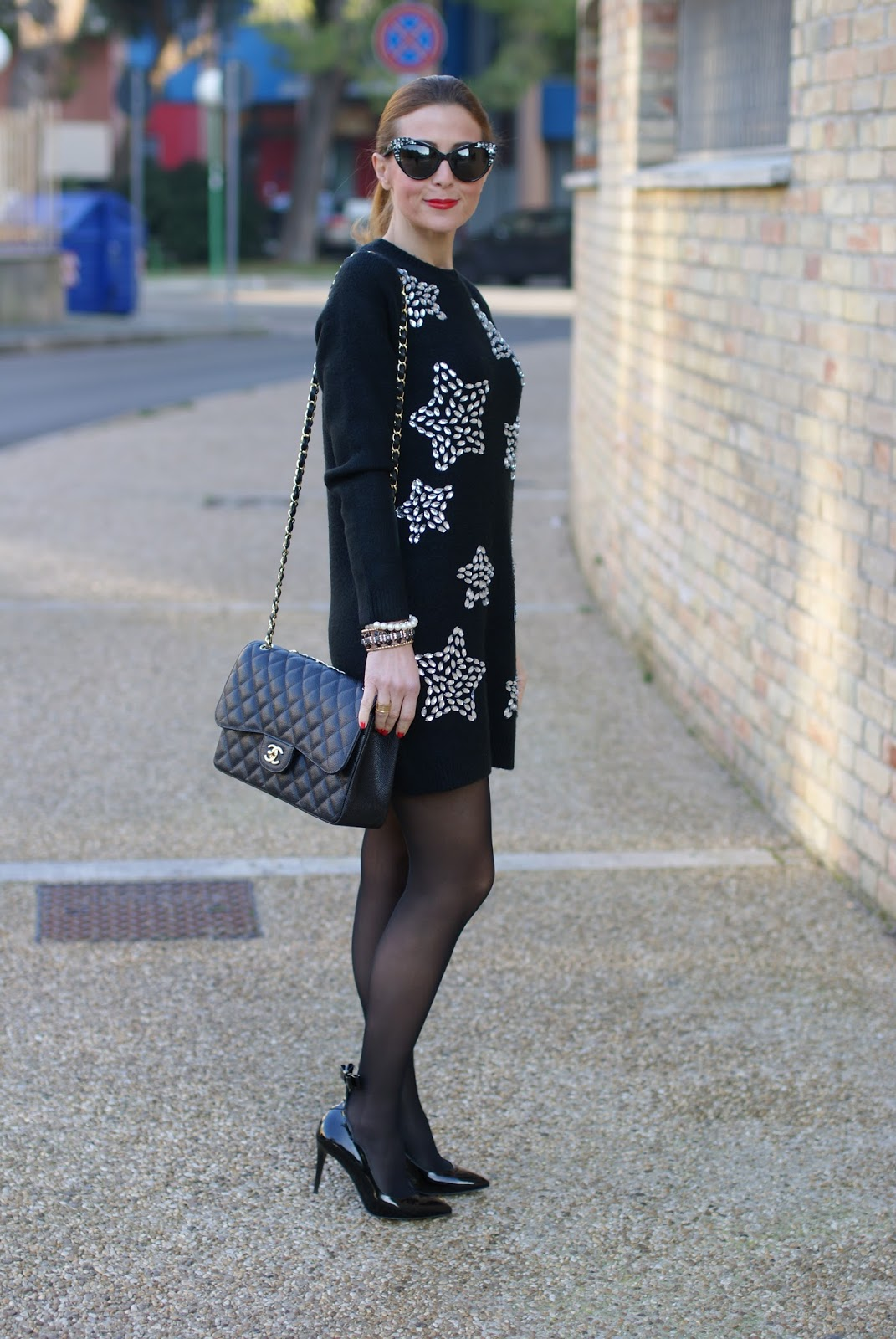starry jeweled dress, sergio amaranti bekate heels and chanel 2.55 bag on Fashion and Cookies fashion blog, fashion blogger style
